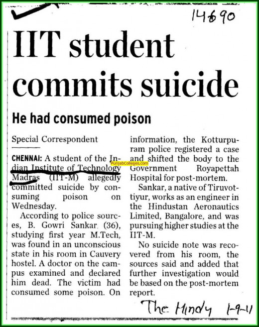 Pressure of scoring low marks forced a student at IIt to commit sucide!