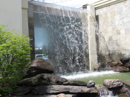 A photo of the waterfall at the entrance of the venue where the reception was held.