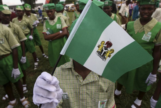 A Photo shot from Nigeria's 53rd Independent anniversary capturing Nigeria pupils