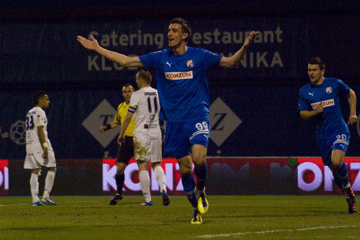 Ivan Krstanovic celebrates during Dinamo Zagreb's match against rival Hajduk Split in a league match on Mar. 17, 2012. Krstanovic scored twice in four minutes in this match and finished at the team's second best scorer.