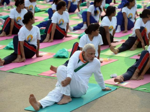 Modi Doing Yoga On International Yoga Day