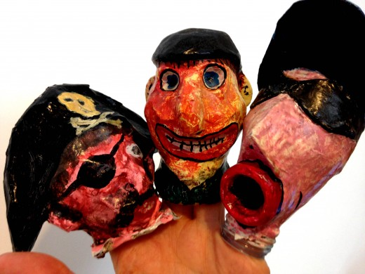 Glove puppet heads - Pirate Jack, Farmer Giles and Jockey Jake