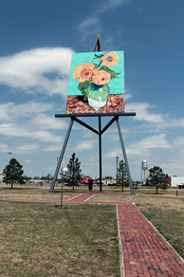 Giant easel with Van Gogh replica