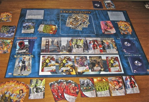 A game of Legendary in play with villains halfway to escaping and an assortment of Villains defeated.