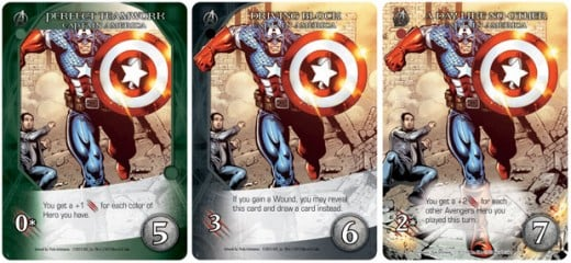 Three different versions of Captain America with different roles, attributes, and token cost.
