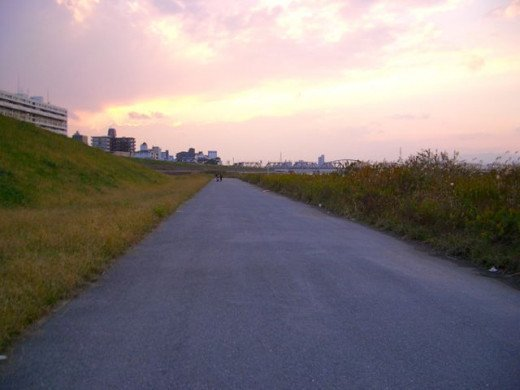 Walk for miles along the river banks wide open spaces, Yodogawa River Osaka Japan