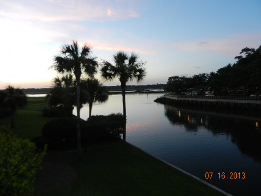 The Harbour at Dusk at Shelter Cove, Hitlon Head Island, SC