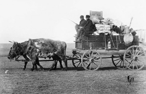 A stagecoach marked the first big step toward a progressive west.