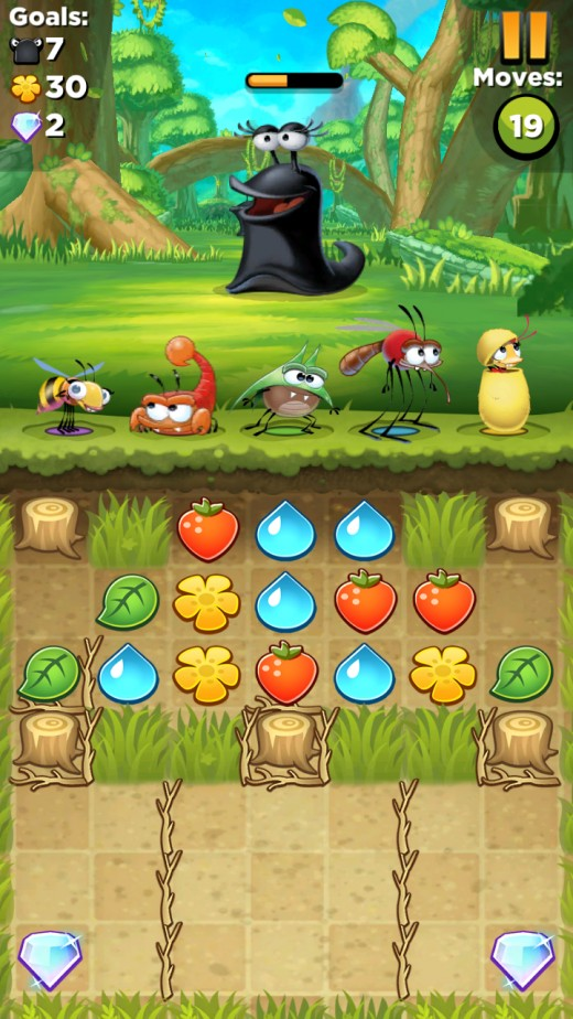 Level 17 of Best Fiends; clear away the sticks and stumps to get to the diamonds and complete one of the three goals.