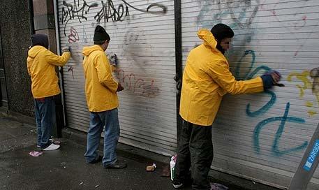 Clean Graffiti off of buildings