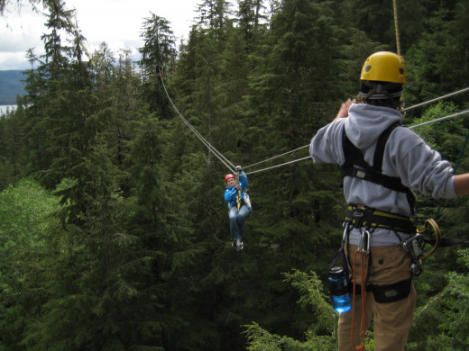 Tammy zip-lining in Juneau, Alaska