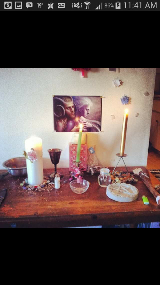 This is my alter from a different ritual that I did.