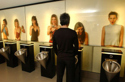 Softiel, Queenstown, in New Zealand has this men's restroom. It is not that filthy, but the images of girls makes guys edgy.