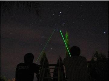 A preview of stargazing communication with greenlasers