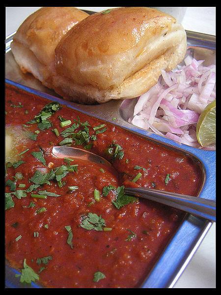 Pav Bhaji with Kashmiri red chilli added to the bhaji