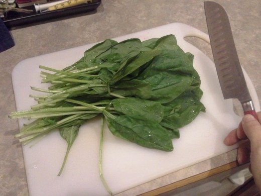 Step Five: Wash and chop your fresh spinach