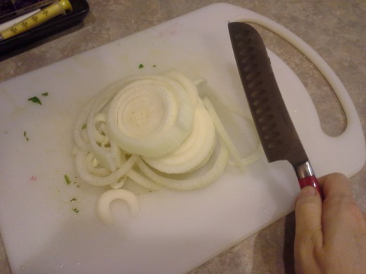 Step Seven: Chop up 1/2 yellow onion