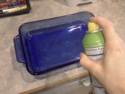 Step Twelve: Spray your dish with cooking spray