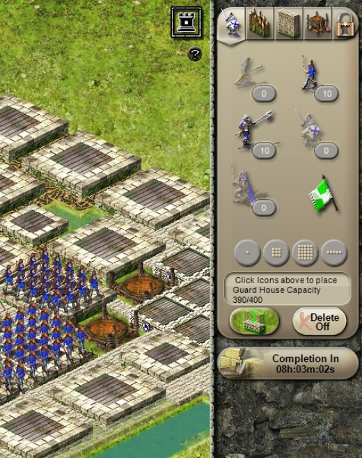 When you are in the castle screen, you can place troops and switch between your troops and Lord Liege troops by clicking on the green/blue flag in the 'Troops' panel.