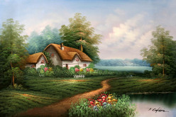 A rural cottage landscape changes with the changing of the seasons.
