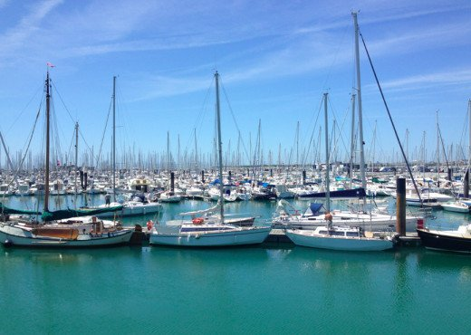 Boats fill the harbour at La Rochelle