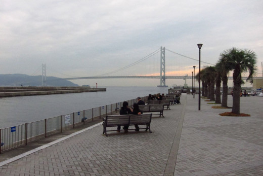 View Of Akashi Bridge From Mitsui Outlet Park Tarumi Hyogo Japan