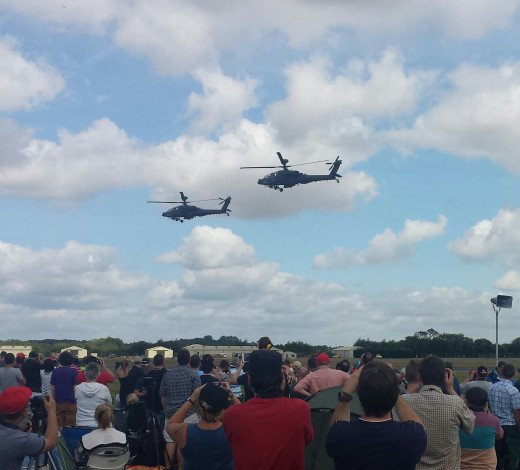 A pair of British Army Apache entertain the crouds at RIAT 2015. 18/07/2015