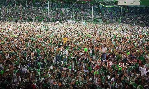Bursaspor supporters at Bursa's Ataturk Stadium celebrate after their club defeated Besiktas 2-1 on May 16, 2010. Bursaspor became only the fifth Turkish club to win the league title, but the first outside Istanbul since Trabzonspor in 1984.