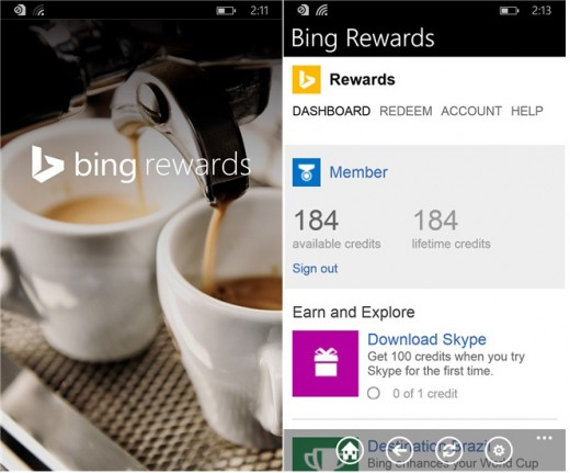 Bing Rewards app