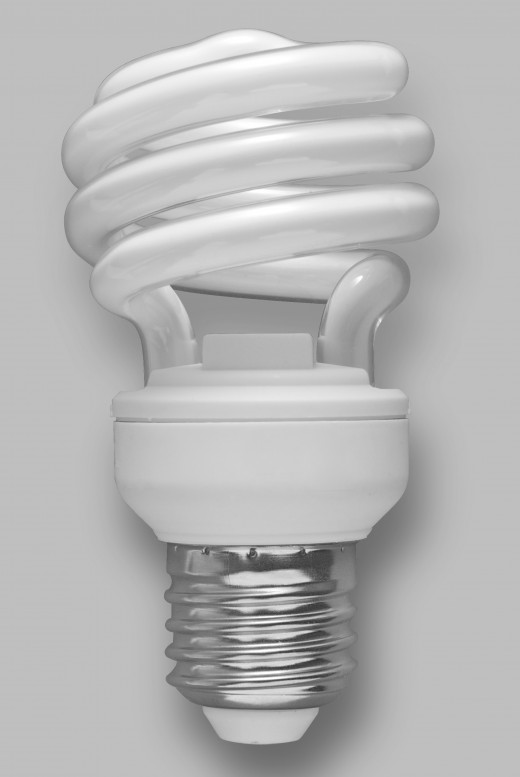 A typical compact fluorescent light bulb.