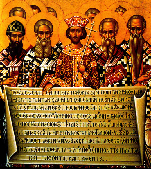 A rendering of the Nicene Creed held by Emperor Constantine and the Bishops that promulgated the divinity of Christ possibly another act of making doctrine amiable to Roman mythological concept