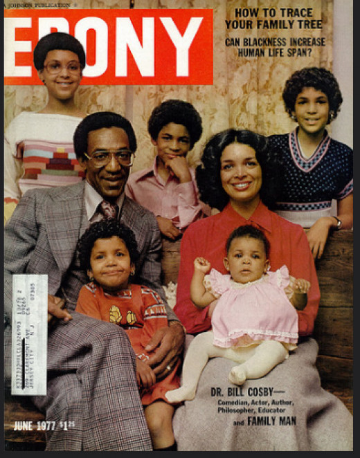 Bill Cosby and his wife, Camille, pose for Ebony in 1977 with their five children.