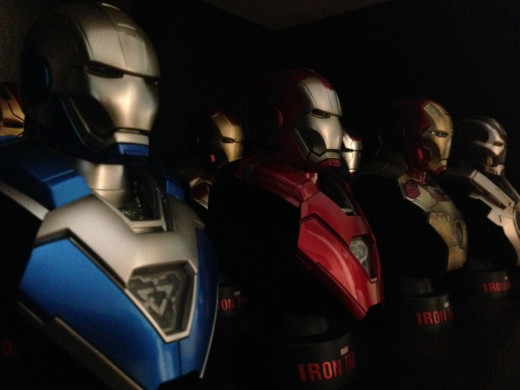 A collection of Iron Man armors/drones