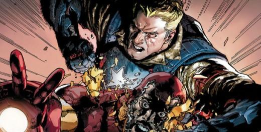 Captain America attacking Iron Man