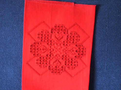 Beginners' Hardanger pattern from EGA teacher. Red thread on red Hardanger fabric.