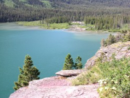 View from the trail. This is a good picture of the lake color.