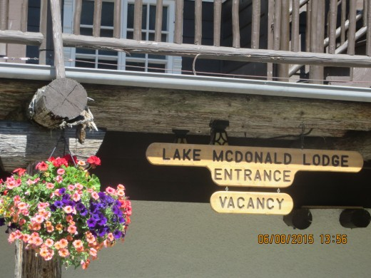 SIMPLE ENTRANCE TO LAKE MCDONALD LODGE.  THE REAL FRONT ENTRANCE IS ON THE LAKE SIDE.