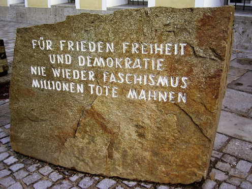 "Outside of Hitler's birthplace is a memorial stone with the inscription: ""For peace freedom / and democracy / never again fascism / millions of dead remind us"" It serves as a sombre reminder of the atrocities committed by Hitler."