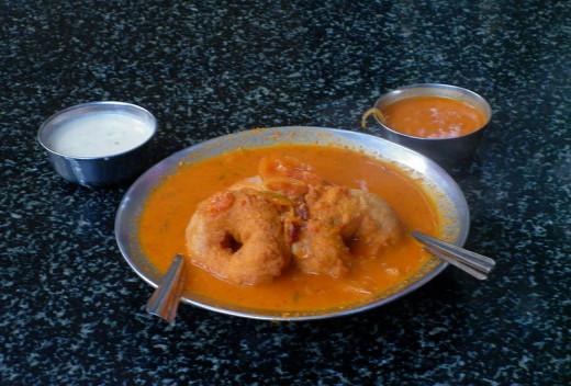 Vada Sambar is served