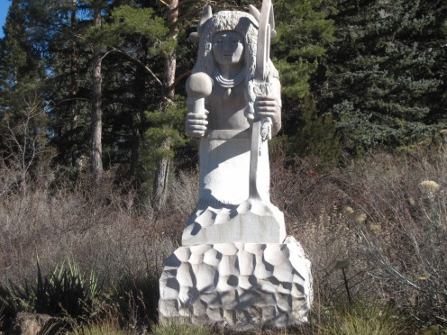 Statue of native people outside New Mexico State Capitol Building