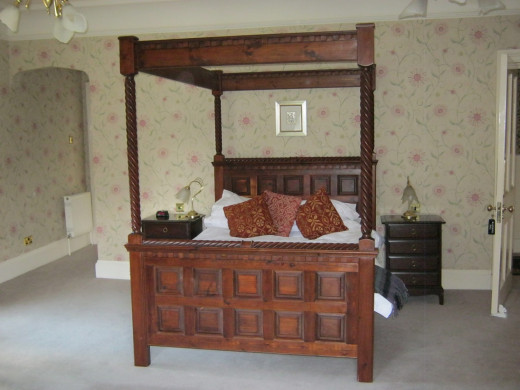 The four poster bed from the master bedroom in Blackwood Hall.