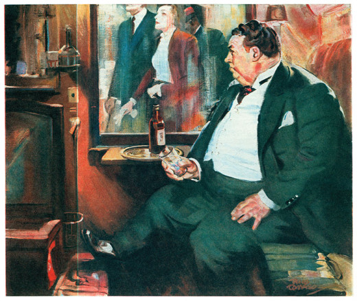 Illustration from The American Magazine printing of Too Many Cooks (1938), a Nero Wolfe novel by Rex Stout, serialized in six installments (March–August 1938)