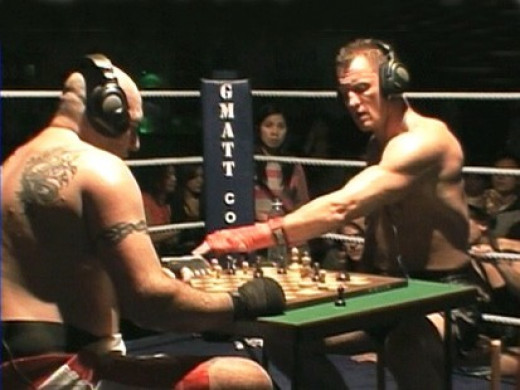 Chess game during chess boxing match