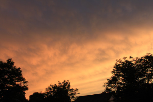 Mammatus clouds at sunset in Connecticut.