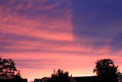 Amazing sunset after Mammatus clouds on June 24, 2015 in Milford, CT.