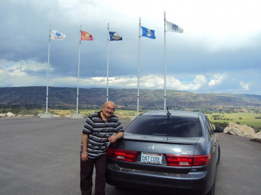U. S. military flags flying high at Memorial Hill, Midway, Utah, U.S.A.