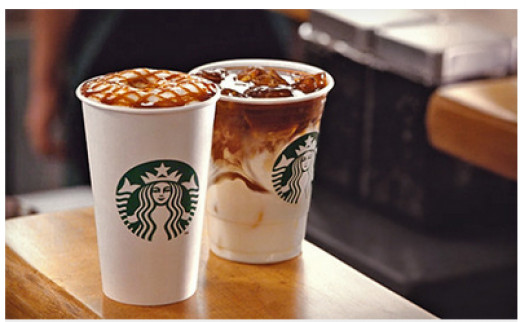 Carmel Machiattos from starbucks one hot and one over ice