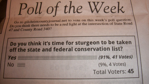 This was the poll for the week. I believe its time to get the sturgeon to be taken off the list .