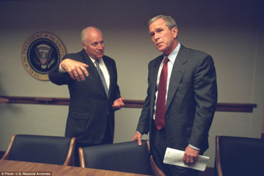 In discussion: President George Bush and his deputy, Cheney, both clearly distressed by the events.