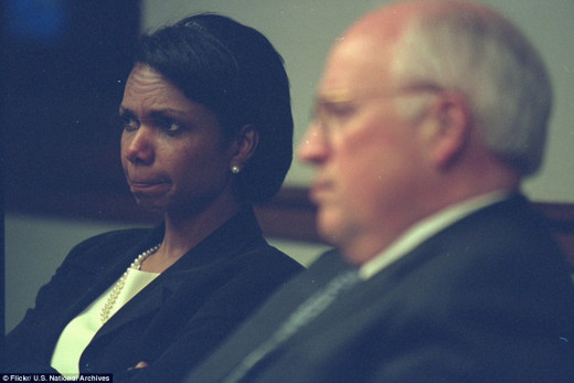 Condoleezza Rice clearly in shock after the events of September 11th 2001.